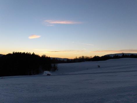 Záhradište v zime - západ slnka